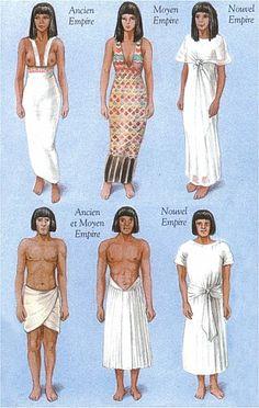 Costumes égyptiens... Dans l'ancienne Égypte, le lin est le textile en usage quasi exclusif. La laine est connue, mais considérée impure, les fibres animales faisant l'objet d'un tabou ne sont que peu employées pour les manteaux et interdits dans les temples et les sanctuaires. Seules les personnes de condition aisée sont vêtues.  Paysans, ouvriers et gens de condition modeste ne portent jamais autre chose que le pagne. Les chaussures sont les mêmes pour les deux sexes sandales de cuir…