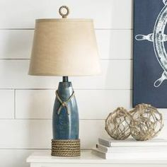 Get this Milford Rope Nautical Table Lamp, which is not only beautiful but also works perfectly in any coastal home because it looks like a floating water buoy. Table Lamp Base, Table Lamp Sets, Lamp Bases, Nautical Lamps, Nautical Table, Nautical Living Rooms, Nautical Bedroom, Coastal Living, Coastal Style