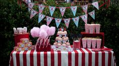 red and white stripe party | use red and white striped tablecloths over the table to