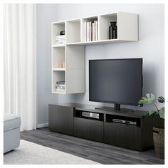 BESTÅ / EKET TV storage combination, white, walnut effect light gray. Find it here - IKEA Ikea Tv, Besta Tv Bank, Tv Bench, Diy Tv Stand, Ikea Family, Tv Storage, Record Storage, Floating Shelves Diy, Large Drawers