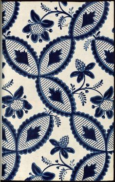 blue and off-white pattern with floral