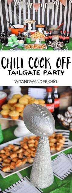 Chili Cook-Off Tailgate Party with recipes for cheesecake bites and seasoned crackers, tutorials for a football banner and black and white striped referee striped party backdrop, free printable Super Bowl Party Invitations, and more! - Wit & Wander