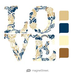 Gold, Navy, Butter, and Bronze Wedding Color Palette - free custom artwork created at MagnetStreet.com