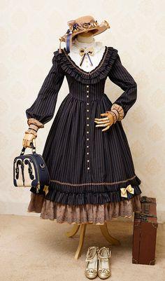 Fantastic Wind -The Florentine Traveller- Classic Lolita OP Dress,Lolita Dresses, Mode Outfits, Fashion Outfits, Victorian Fashion, Vintage Fashion, Lolita Mode, Estilo Lolita, Lolita Cosplay, Dress With Cardigan, Vintage Mode