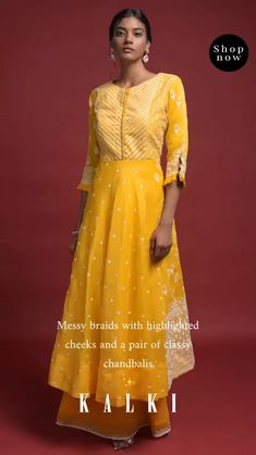 Daffodil yellow A line suit in cotton adorned with thread, sequins and abla embroidered ethnic pattern and buttis. Designed with round neckline and sleeves with pleated frill. Paired with matchi Shadi Dresses, Pakistani Dresses, Mens Wedding Wear Indian, Stylish Dresses, Long Dresses, A Line Kurti, Kurti Sleeves Design, Silk Kurti, Embroidery Suits Design