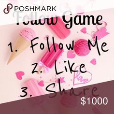 LETS HELP EACH OTHER REACH OUR GOALS!! C'MON POSHERS, LETS HELP EACHOTHER OUT! WE ALL WANT MORE FOLLOWERS & MORE SALES SO LETS DO THIS!  I WOULD LOVE TO REACH 10k FOLLOWERS WITH THIS FOLLOW GAME! THE PRICE IS THE COUNTDOWN!    LIKE THIS POST, SHARE IT, FOLLOW EVERYONE WHO LIKED IT, & TAG YOUR POSH FRIENDS!!    THANK YOU SO MUCH! I APPRECIATE ALL OF YOU!   IM FOLLOWING EVERYONE BACK! <3 HAPPY POSHING Follow Game Other