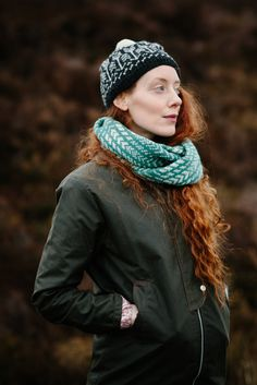 Wave Circle Scarf and the Arrow Pom Hat - projects from my new hand knitting book, Knitting from the North