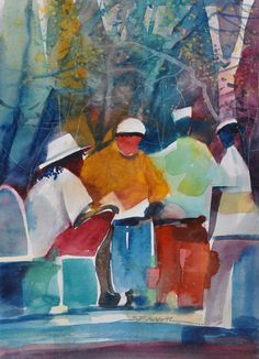 City Stroll Watercolor Painting African American Art