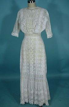 Elaborate White Cutwork And Mixed Lace And Embroidered Edwardian Era Lawn Dress  c.1907-1910 Antique & Vintage Dress Gallery
