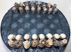 New Skull  Chess Set/ Pieces  Painted  Board by ChessMouldsAndMore