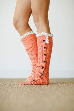 Lace Leg Warmers Coral Lacy Knitted Button Down Leg Warmers Boot Cuffs with Crochet Trim Button Up LegWarmers Lace Boot Socks, Boot Cuffs, Knee Socks, High Socks, Crochet Ruffle, Crochet Trim, Knit Crochet, Knit Leg Warmers, Boot Toppers