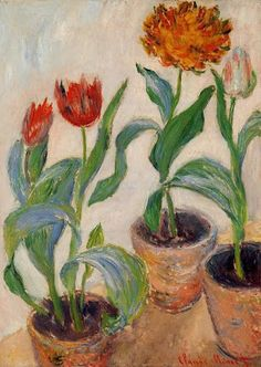 Three Pots of Tulips - Claude Monet. Another Monet I haven't seen. Claude Monet, Art Floral, Artist Monet, Art Amour, Art Du Monde, Monet Paintings, Flower Paintings, Edgar Degas, Wassily Kandinsky