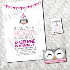 Owl Birthday Printable Set Invitation favor by thefussydesigner