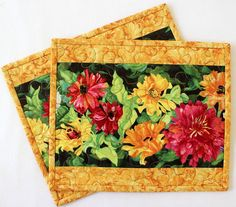 Quilted Mug Rugs - Snack Mat - Table mat - Floral Zinnia - Set of 2 Mug Rugs Orange Mugs, Yellow Mugs, Table Runner And Placemats, Quilted Table Runners, Quilt Placemats, Christmas Placemats, Christmas Sewing, Mug Rug Patterns, Quilt Patterns