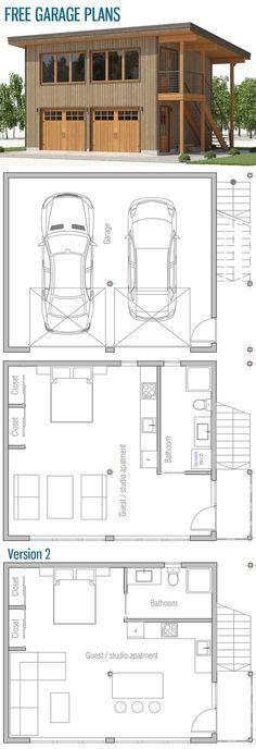 Free Garage Plans Garage Guest House, Garage Shed, Barn Garage, Garage Loft Apartment, Garage Apartments, Small Garage, Modern Garage, Garage Floor Plans, House Floor Plans