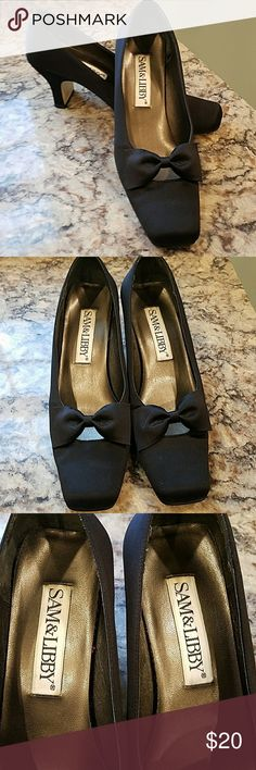 """Sam & Libby pumps This is a pr pf black satin pumps.  They are in excellent condition.   1 1/2 """" heel with no marks/tears Sam & Libby Shoes Heels"""