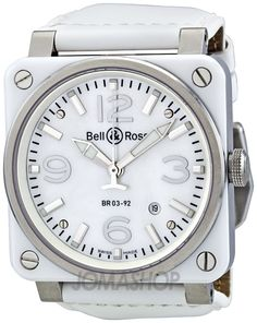32df9f89326 Bell and Ross Aviation Mother of Pearl White Ceramic Men s Watch  BR0392-WHT-CER