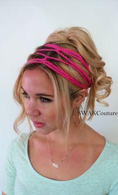 Crochet Headband Boho Hippie Headband Goddess Chain Headband Festival Hair  Accessories Hair Wrap for Women Handmade - Hot PInk 2fcd20dfb3e2