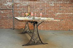 Base price includes 96″ x 40″ steel top  Shown with a plank stylereclaimed boxcar oak top  Also shown with a chrome finish, holedinterior, and a black top (rendering)  Height: 30″  Tops: Walnut, reclaimed boxcar oak, worn oak, mahogany, cherry, steel, glass, concrete  Turn of the century machine base look.