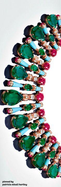 Bulgari - MVSA Collection. Stunning statement collar necklace of precious stones and diamonds.