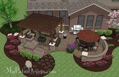 Colorful and Curvy Outdoor Living Design with Outdoor Fireplace, 12 x 16 Cedar Pergola and Seat Walls. Features 605 Square Feet | Plan No. 1143rr | Download Installation Plan at MyPatioDesign.com