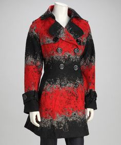 Love this Black & Red Abstract Peacoat on #zulily! #zulilyfinds