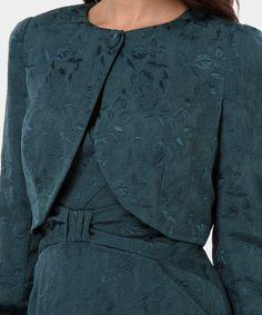Luisa Spagnoli bolero in misto cotone damascato simbi verde petrolio Blazer  Shirt 997a4164881