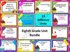 8th Grade Common Core Math Unit Bundle from Teacher Twins on TeachersNotebook.com -  (13 pages)  - If you have already purchased any 8th grade unit and would like to purchase the other units in this bundle at a discounted price please contact us at teachertwins@gmail.com.   Back to School 8th Grade Math Unit  8th Grade Equations Unit   Angles and Lines