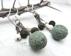 Polymer Clay Lava Rock Earrings, Dangles and Drops, Nature Inspired, Faux Stone, Women's Gift Idea,Handmade Jewelry, Muted Color by dejARTCreations on Etsy