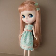 Green and Apricot Floral Summer Dress for Blythe by myfairdolly, $12.00