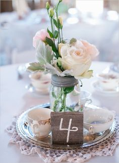 58 Ideas Rustic Bridal Shower Centerpieces Center Pieces Tea Parties For 2019 Vintage Wedding Centerpieces, Bridal Shower Centerpieces, Candle Centerpieces, Wedding Flower Arrangements, Wedding Flowers, Wedding Decorations, Centerpiece Ideas, Rustic Tea Party, Tea Party Wedding