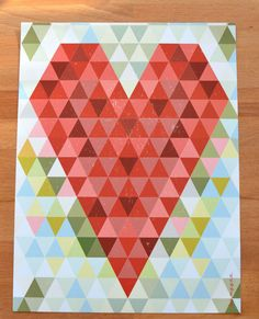 Triangle heart by Myyna. Triangle, Contemporary, Rugs, Abstract, Blog, Heart Quilts, Design, Home Decor, Target