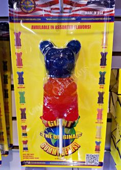 Giant Gummy Bear Lollipop Candy - Large Gummi Treat - Sweet Idea - Big Gift for sale online Welches Fruit Snacks, American Girl Doll Room, Paw Patrol Birthday Cake, Flavored Marshmallows, Popular Candy, Big Gift, Lollipop Candy, Chewy Candy, Rainbow Food
