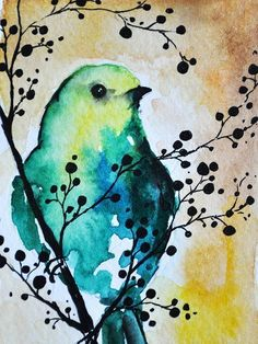 Original Watercolor and Ink ACEO Green Bird in a by AbstractArtM #watercolorarts