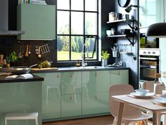 Surprising Small Kitchen Designa Ideas Impressive With Photos Of In Island Designs Tiny Ideas Surprising Small Kitchen Design Ikea Light Green Kitchen, Green Kitchen Decor, Kitchen Cabinets In Bathroom, Kitchen Soffit, Kitchen Curtains, Kitchen Appliances, Closed Kitchen, New Kitchen, Kitchen Ideas