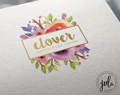 CLOVER Watercolor Series Instant Download Logo by Julabrand