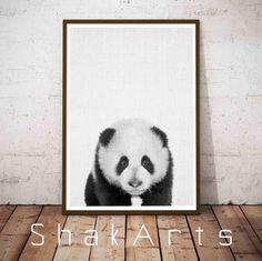 Panda Poster Panda Wall Print Panda Nursery Decor by ShakArts