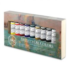"""Gamblin Artists' Oil Colors are luscious, intense, pigment-rich colors. This Introductory Set includes 37 ml. tubes and a ready-to-use, 12"""" x 6-1/2"""" pre-primed birch painting panel handcrafted in North America from sustainable forests. #OilPainting #ArtSupplies"""
