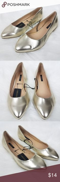 177cba3e418 NWT Forever 21 Gold Metallic Pointy Flats Sz 6.5 New with tags and no flaws  Perfect