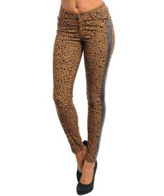 G2 Chic Women`s Leather Panel Animal Print Skinny Ankle Pants