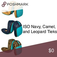 ISO Navy, Camel, and Leopard size 9 Tieks I am looking to buy size 9 gently used navy/camel/leopard tieks. Let me know if you have them! Tieks Shoes Flats & Loafers