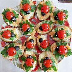 ladybug cracker - I want to do this on cucumber slices in place of the cracker. So, I can do them in the morning and they will not get mushy.