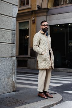 #mensfashion #cream #jacket #brownshoes #beard #glasses