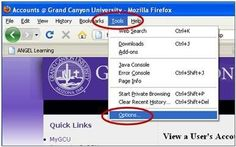 Adding the Student Portal to Trusted Pop-ups in Firefox Grand Canyon University, Student Portal, Ads, Learning, Studying, Teaching, Onderwijs