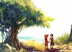 2boys black_hair brothers child freckles hand_holding hat male monkey_d_luffy multiple_boys one_piece portgas_d_ace sad short_hair siblings tree tsuyomaru young