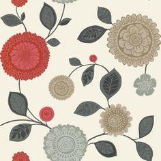 Opera Tropicana Wallpaper Red / Cream / Grey (410702)