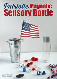 Patriotic Magnetic Sensory Bottle for Kids. Grab some red, white and blue and test out this science fun with magnets and sensory bottle items for the of July! Preschool Science Activities, Stem Science, Science For Kids, Preschool Activities, Preschool Centers, Travel Activities, Summer Activities, Sensory Bottles, Sensory Bins