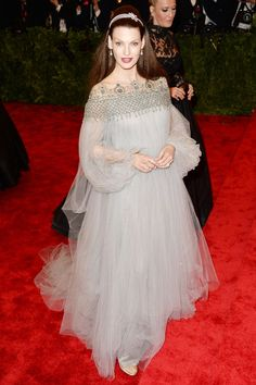 Linda Evangelista wore a Marchesa dove grey tulle crystal-encrusted dress with Harry Winston jewellery, at the Met Gala.