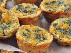 Spinach and Cheese Baby Quiches (Had these for brekky. They were good. I used regular muffin tins and baked for 20 min. Also used fresh spinach, chopped small so my kids wouldn't gag on it. Truth.)