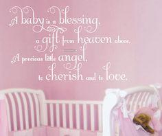 Baby Saying Wall Decal Nursery Decor Girl Wall Sticker Rhyme. $22.00, via Etsy.